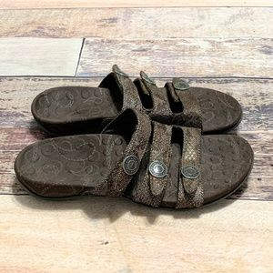 Orthaheel Ashley Triple Strap Snake Print Sandals